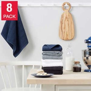KitchenAid Antimicrobial Kitchen Towels, 8-pack Black Gray Navy Blue & White NEW